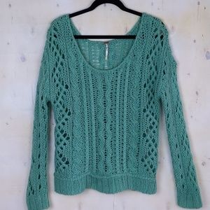Free People teal crochet scoop neck sweater Large